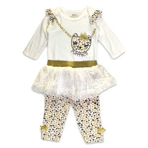 NEW Girls 6-9M Outfit Leopard Matching Set NWT